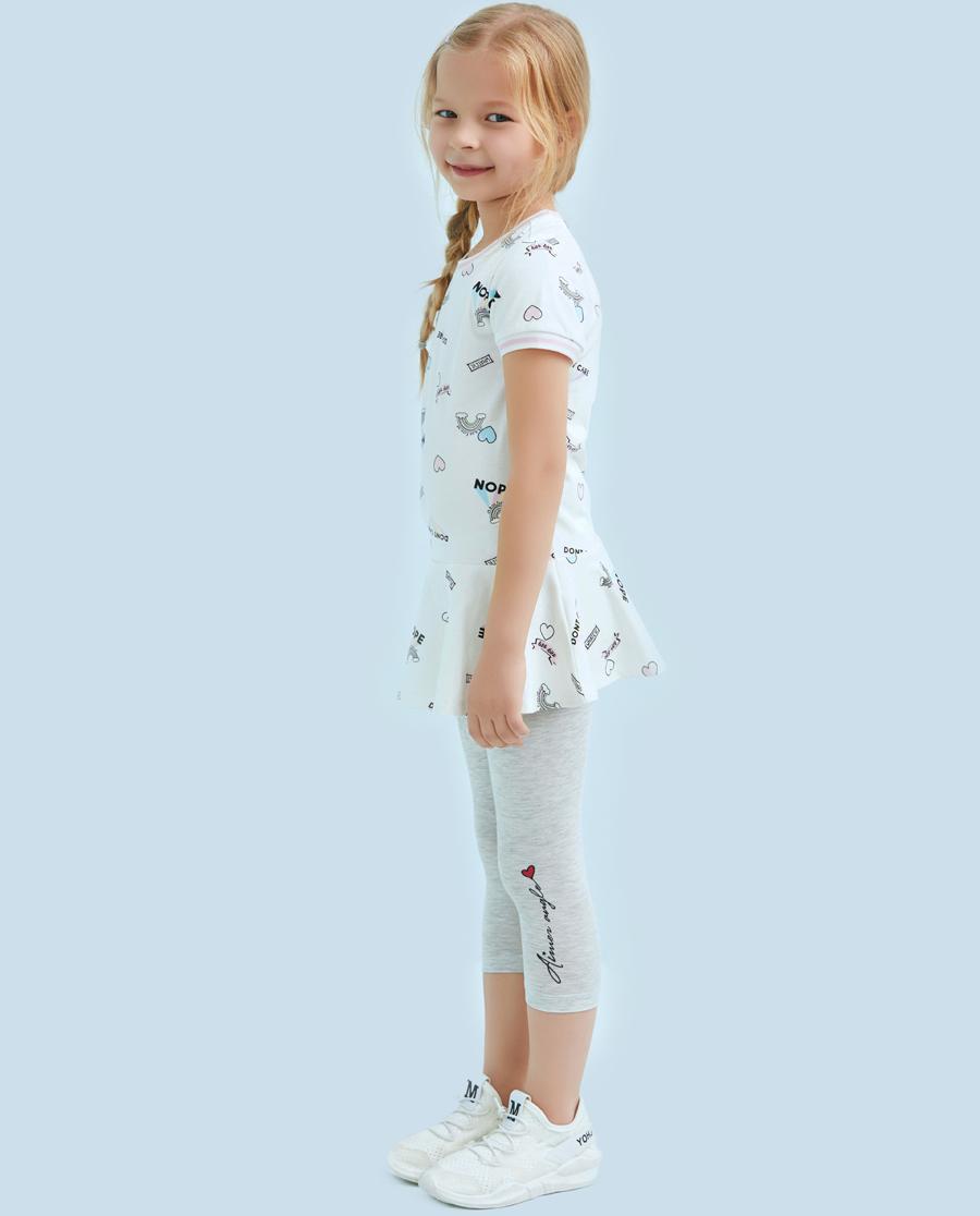 Aimer Kids睡衣|爱慕儿童印花打底裤字母女童七分打底裤AK1821512
