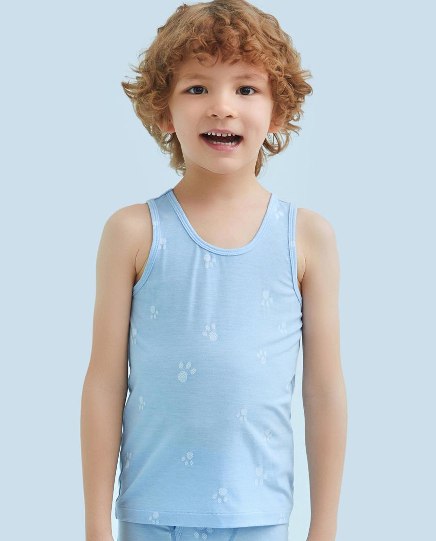 Aimer Kids睡衣|爱慕儿童萌萌爪印男童跨栏背心AK2111151