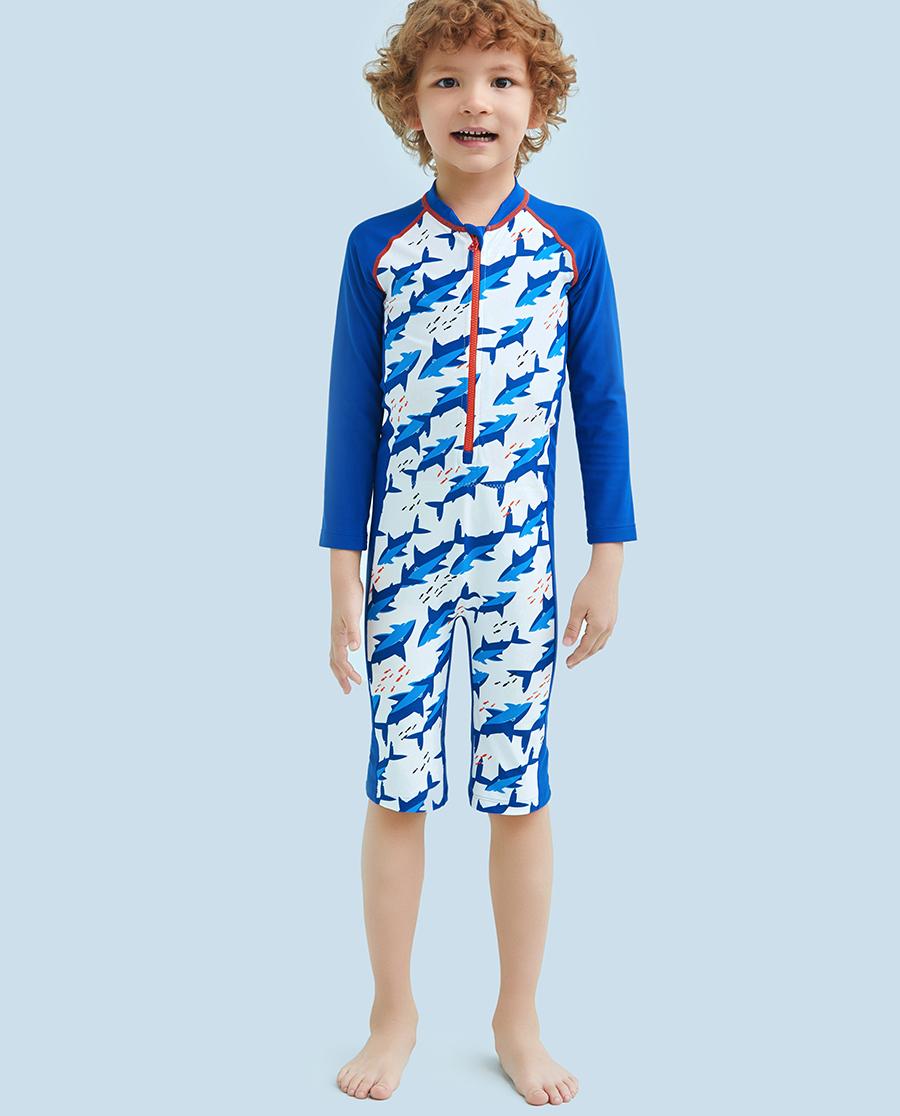 Aimer Kids泳衣|愛慕兒童鯊魚部落長袖連體泳衣AK2671