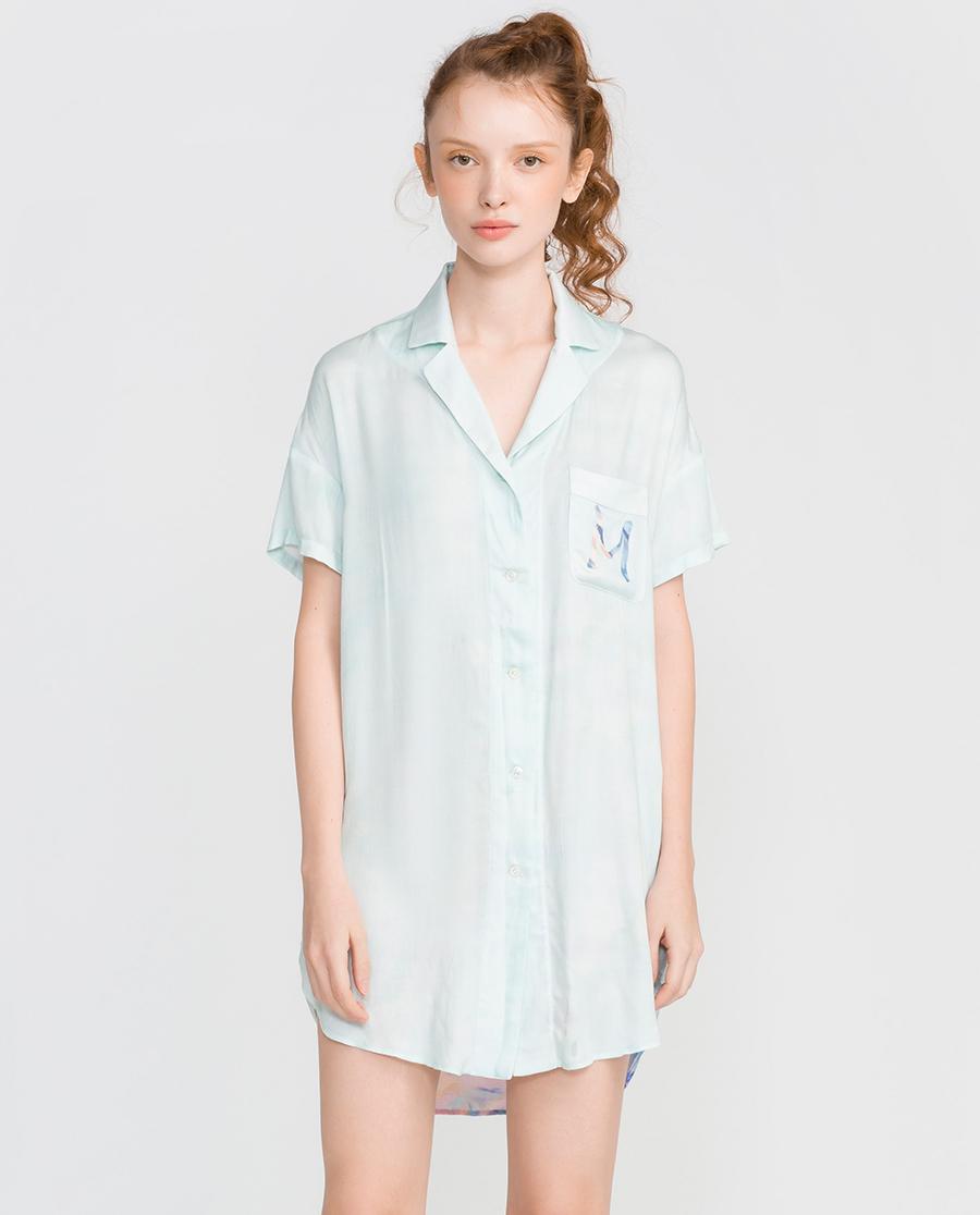 imi's睡衣|爱美丽家居神秘使者缎纹人棉翻领开衫短袖长上衣IM45CMZ1