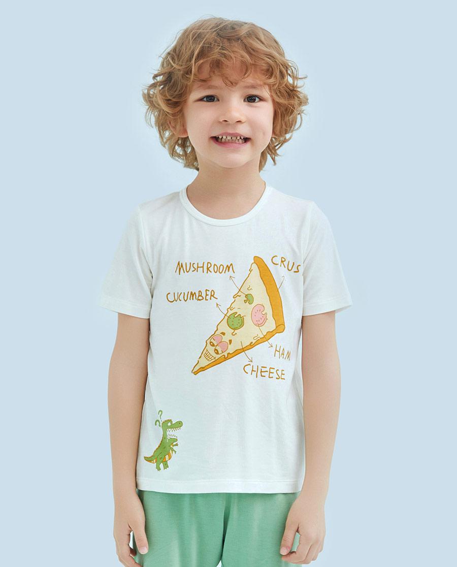 Aimer Kids睡衣|爱慕儿童贪吃恐龙男童短袖上衣AK2411261