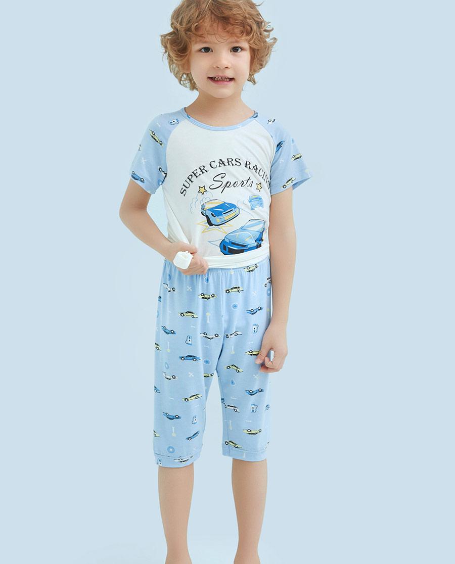 Aimer Kids睡衣|爱慕儿童动感汽车男童七分裤AK24209