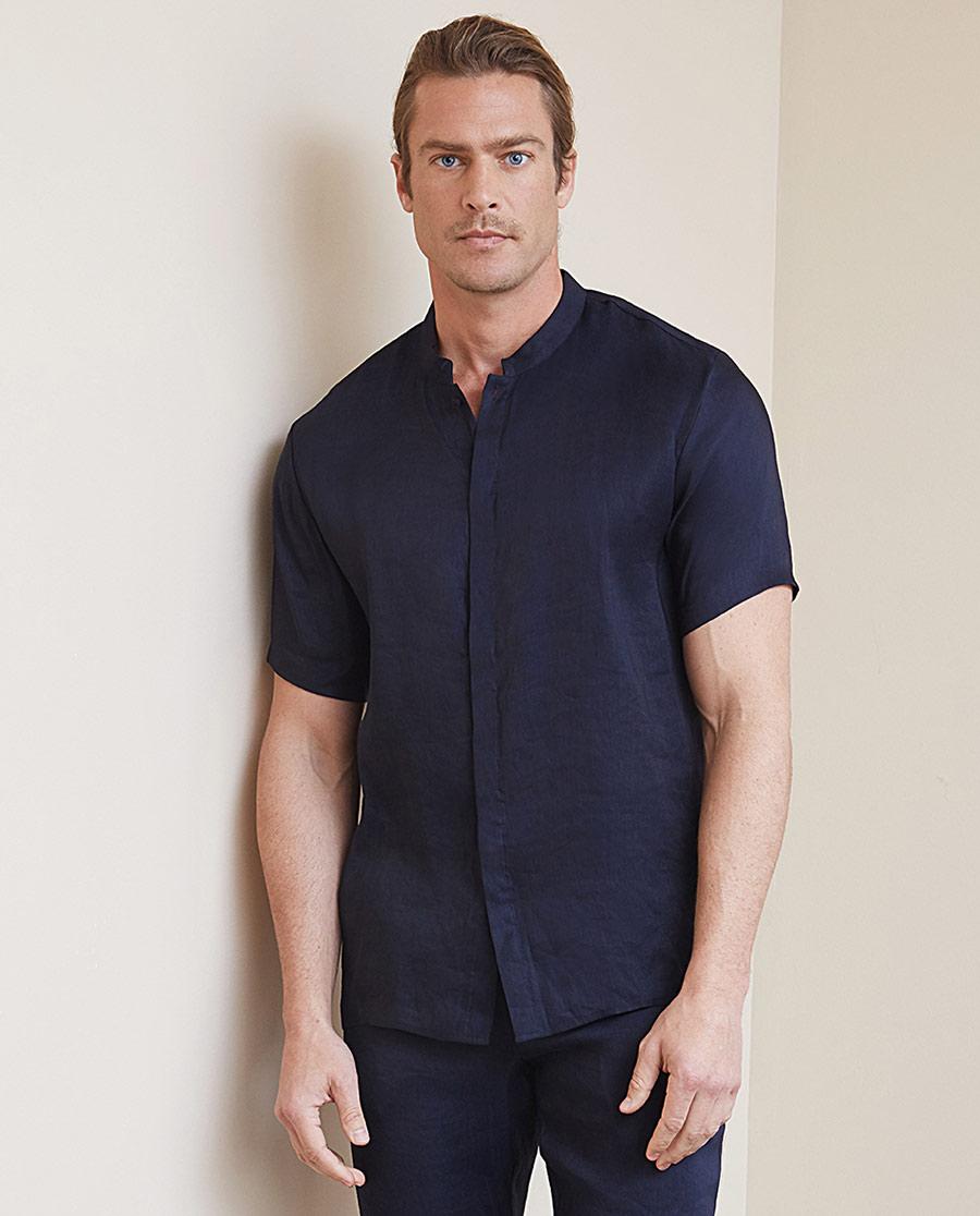 Aimer Men睡衣|爱慕先生冰丝亚麻短袖开衫NS81B631