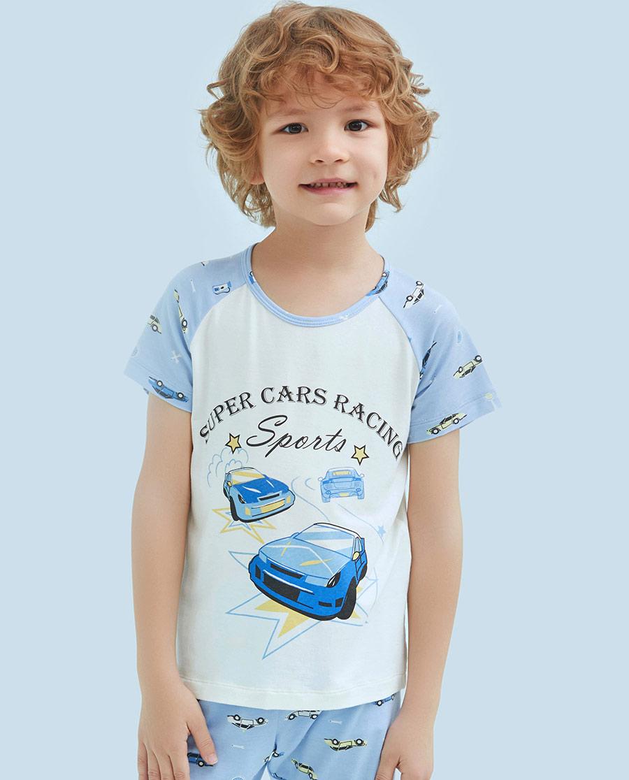 Aimer Kids睡衣|爱慕儿童动感汽车短袖上衣AK241091