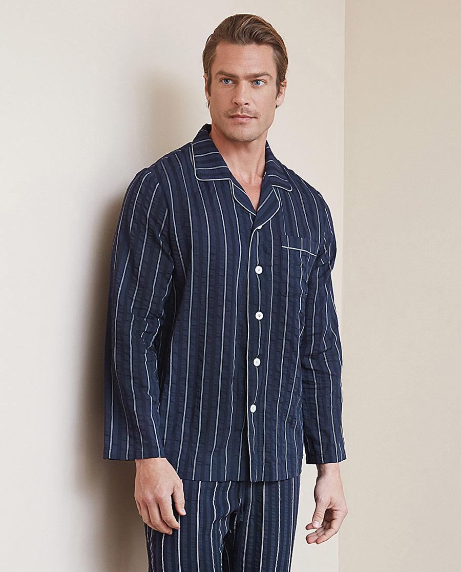 Aimer Men睡衣|【两件75折】爱慕先生褶皱条纹棉家居翻领