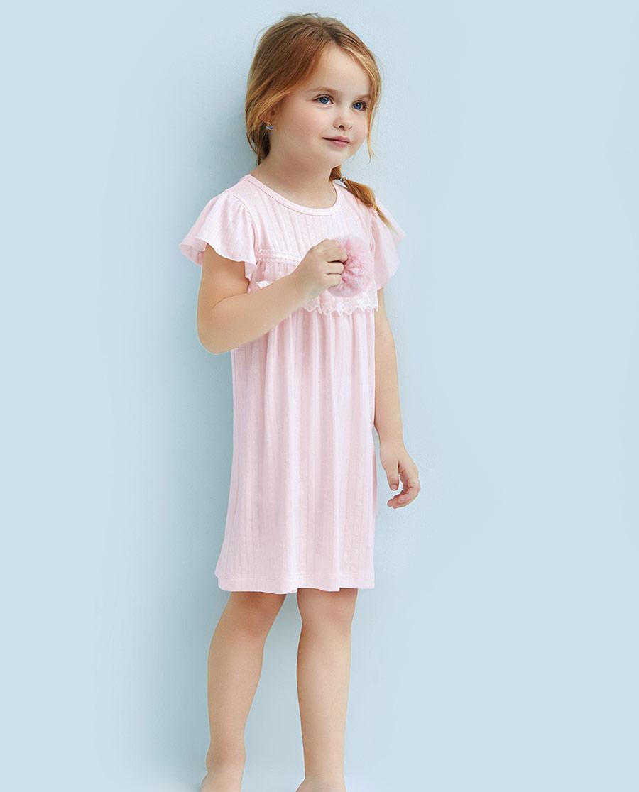 Aimer Kids睡衣|爱慕儿童蕾丝铃兰短袖睡裙AK144080