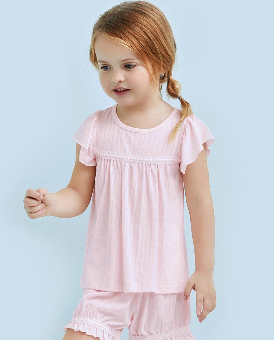 爱慕儿童蕾丝铃兰短袖上衣AK1410801