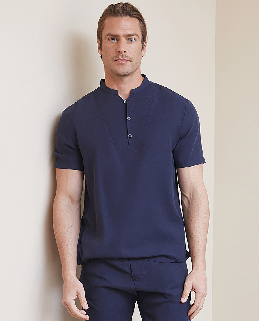Aimer Men睡衣|爱慕先生天丝系列小V亨利领短袖上衣NS81B901