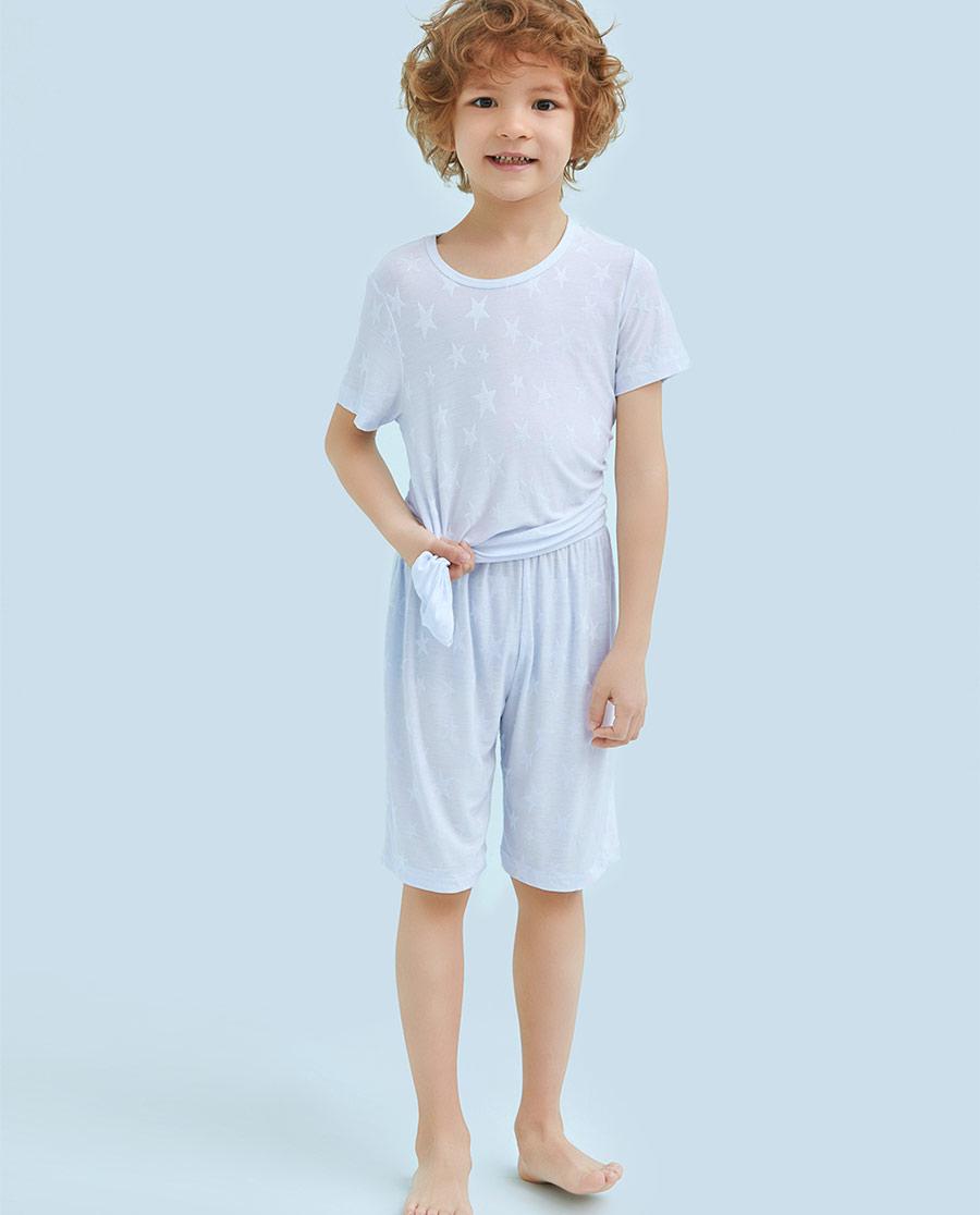 Aimer Kids睡衣 爱慕儿童纯爱星空系列短袖中裤家居套装AK