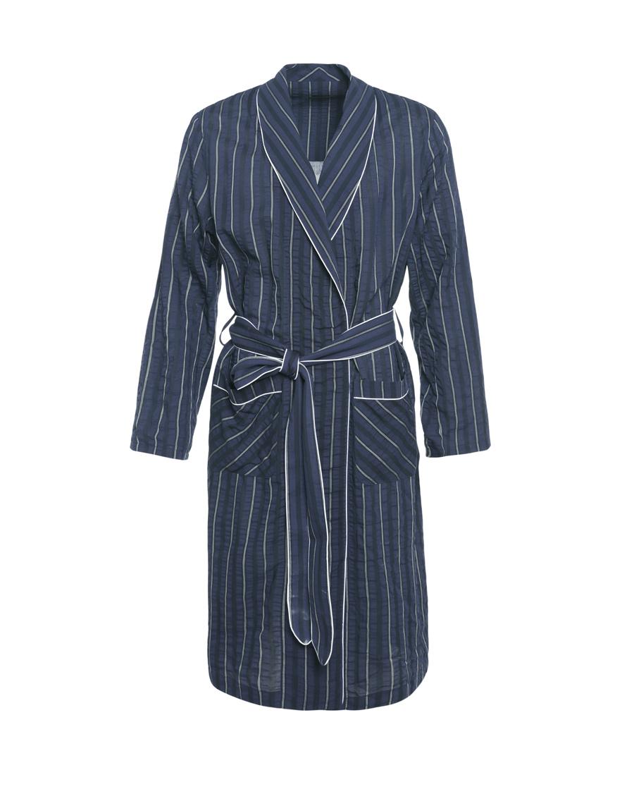 Aimer Men睡衣|【两件75折】爱慕先生褶皱条纹棉家居长袍