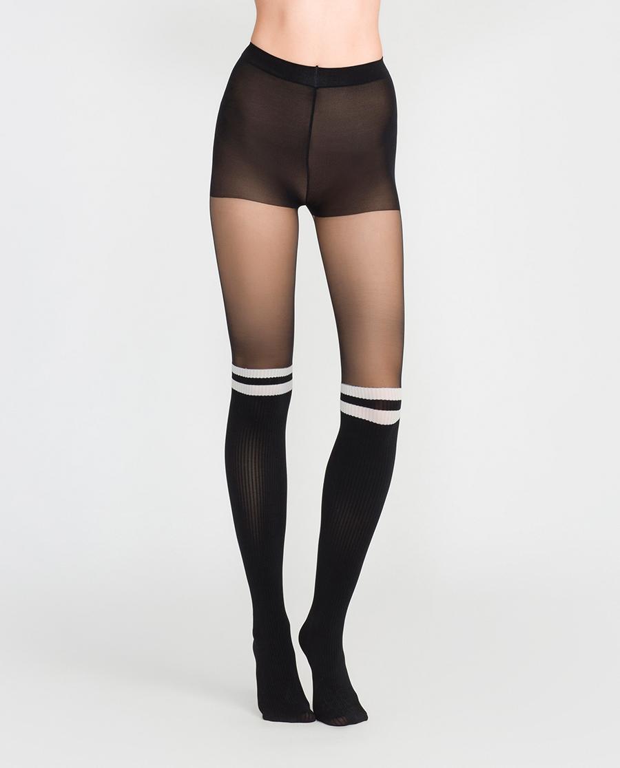 imi's保暖|爱美丽19SS打底裤袜运动风假高筒连裤袜