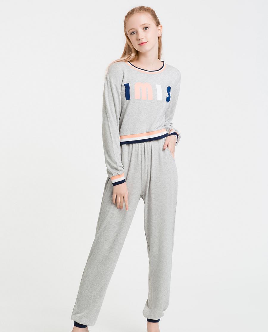 imi's睡衣|爱美丽Teen-家居体育课圆领套头长袖上衣长裤套装IM46ASL1