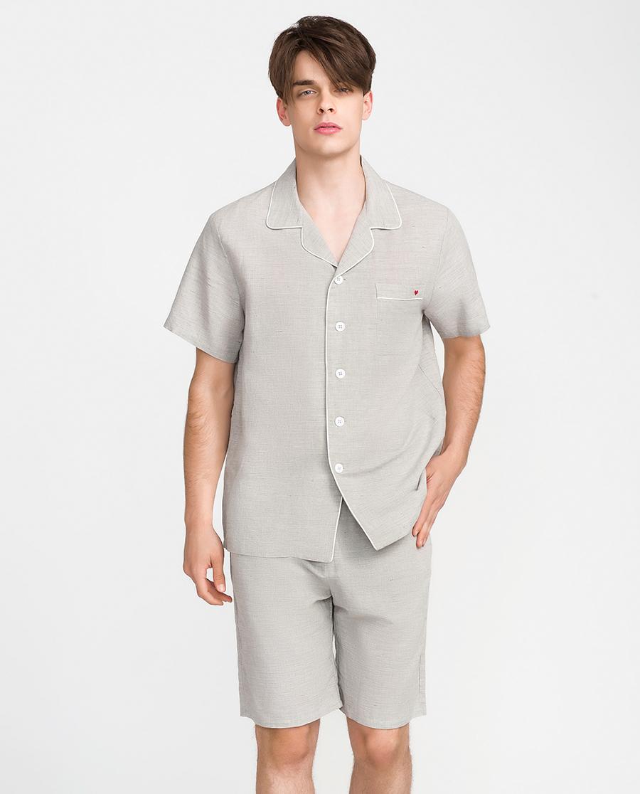 IMIS睡衣|愛美麗家居舒適麻麻梭織男式短袖上衣短褲套