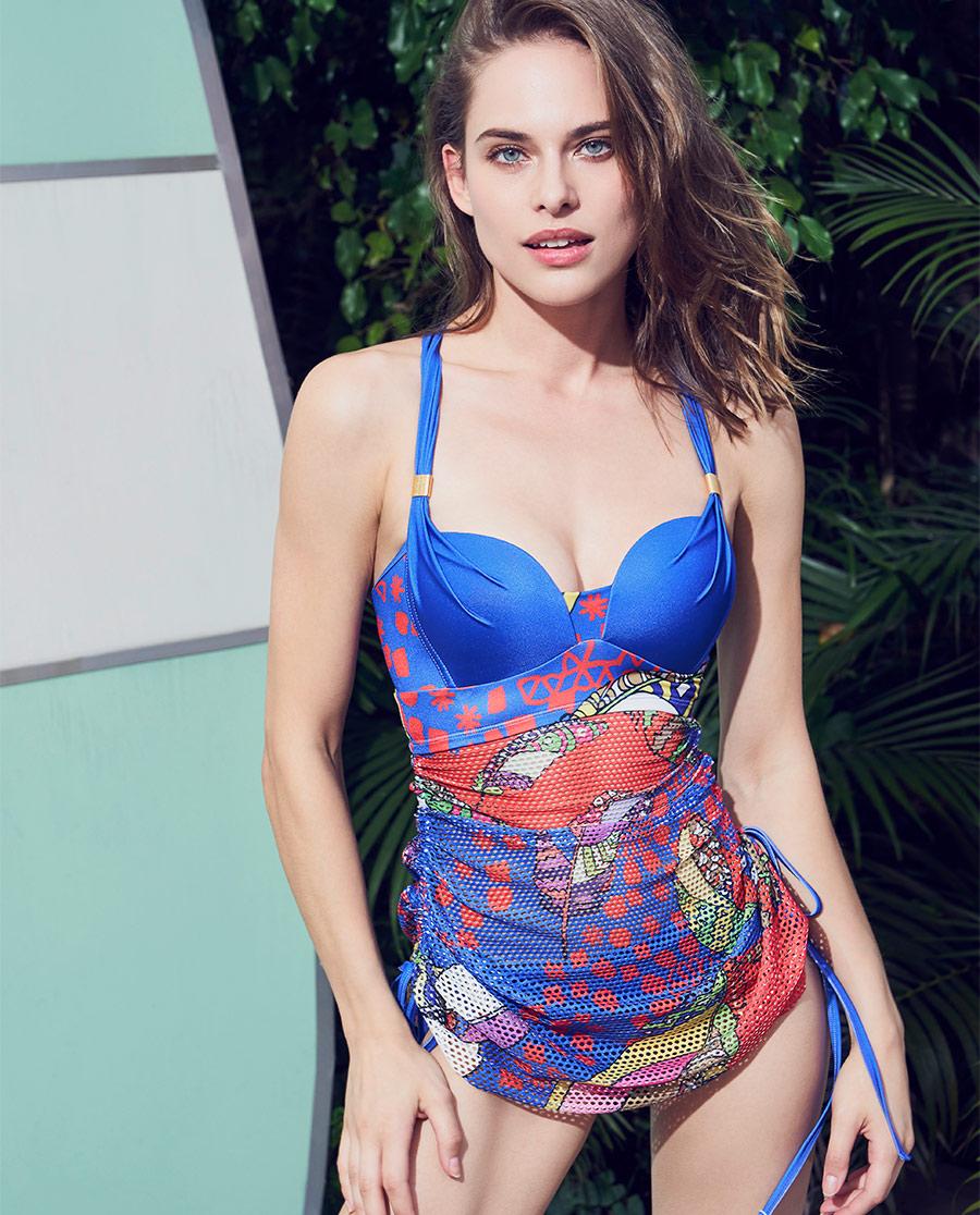 Aimer泳衣|ag真人平台缤纷羽意裙式分身泳衣AM672872