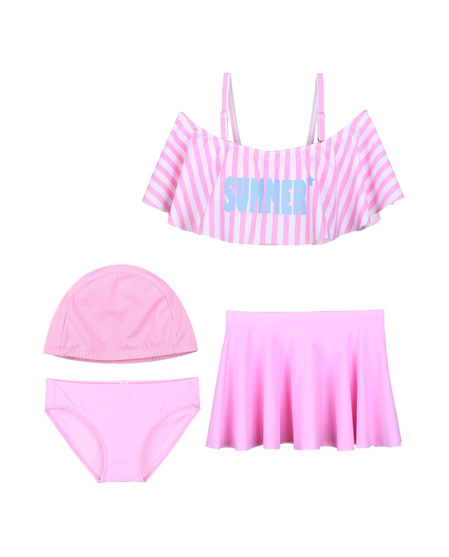imi's泳衣|爱美丽泳衣少女时代无托抹胸分身三件套泳衣