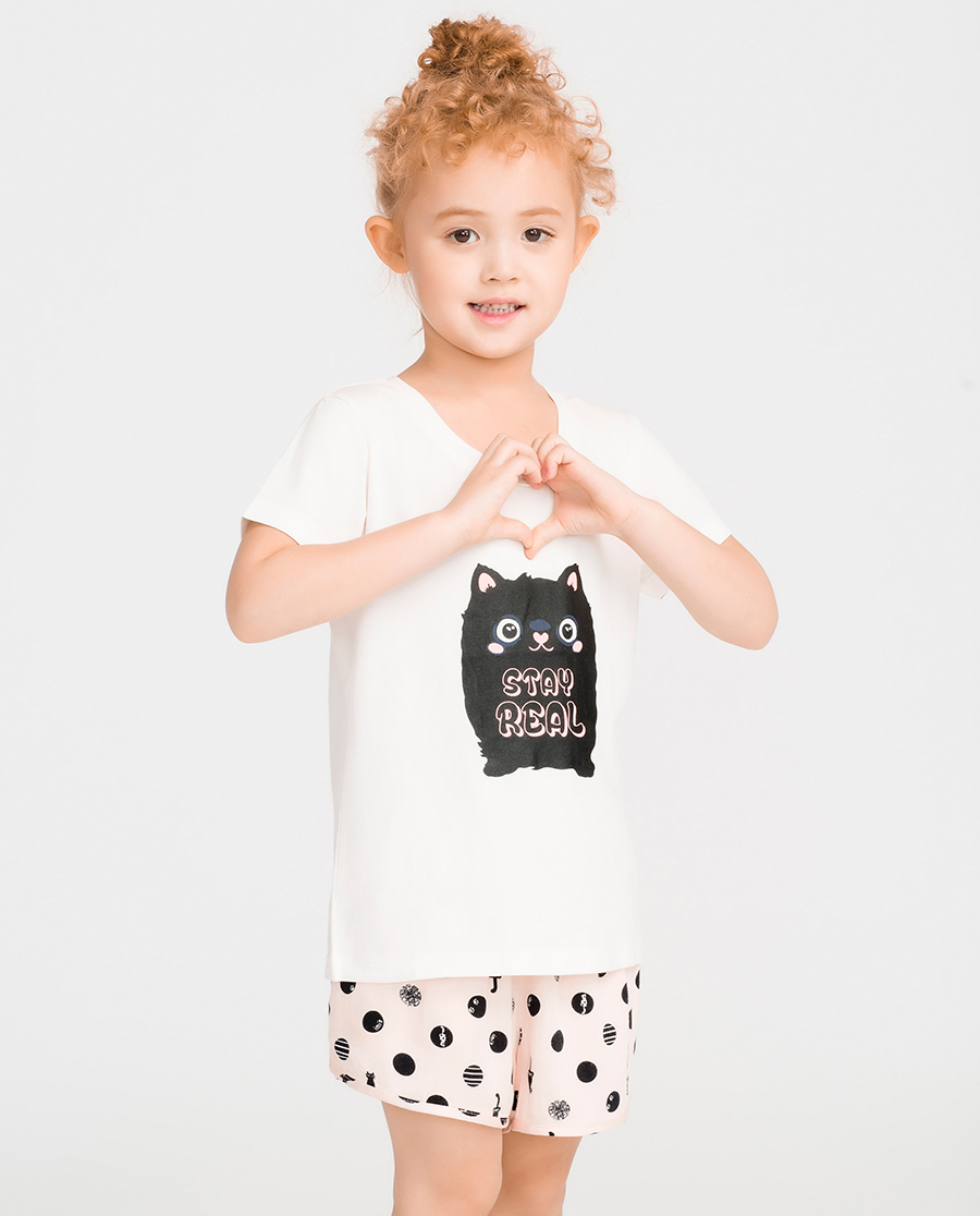 imi's睡衣|爱美丽家居线球小猫女童亲子短袖上衣短裤套装IM46BMQ2