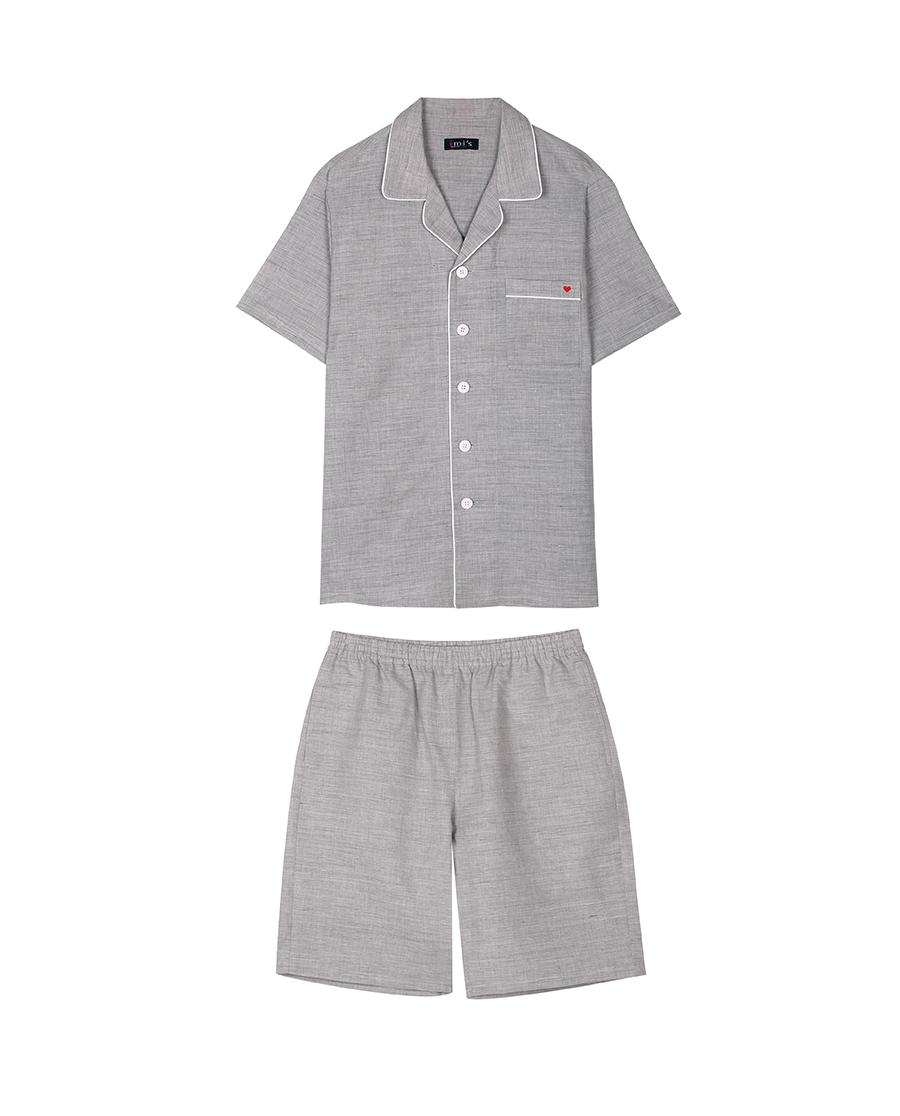 imi's睡衣|爱美丽家居舒适麻麻梭织男式短袖上衣短裤套