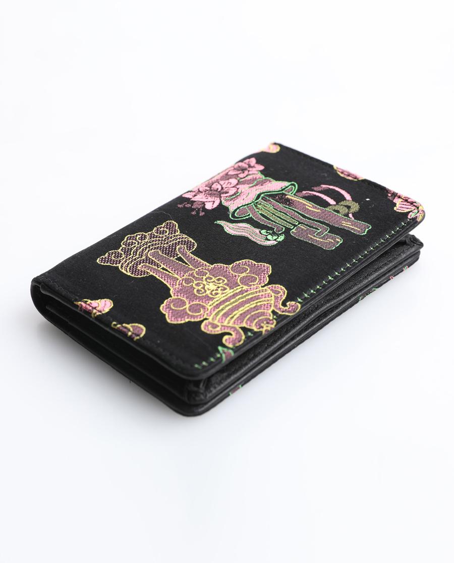 皇錦織錦加皮名片夾-博古黑色HJ33247