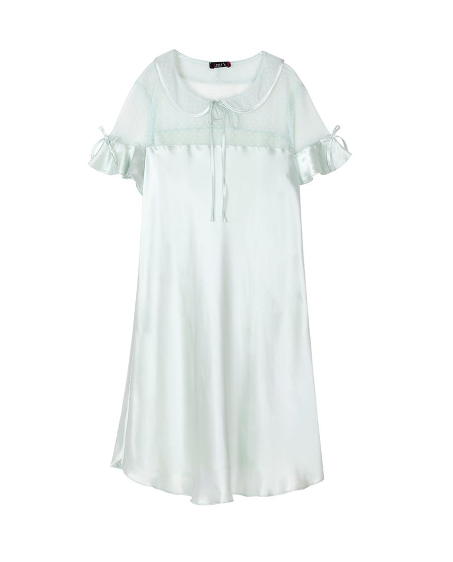 imi's睡衣|愛美麗家居芭比幻想真絲翻領套頭短袖睡裙I