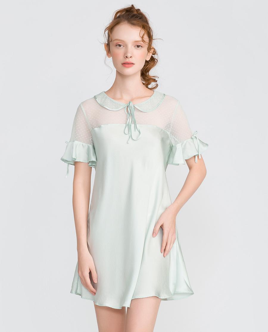 imi's睡衣|爱美丽家居芭比幻想真丝翻领套头短袖睡裙IM44ASN1