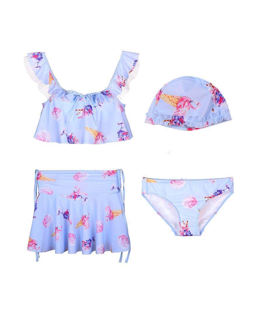imi's泳衣|爱美丽泳衣神奇冰激凌无托短背心三件套分身