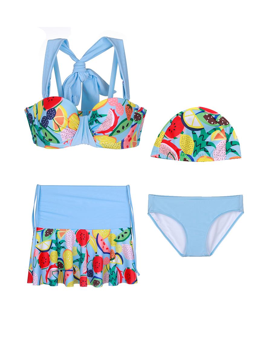 imi's泳衣|爱美丽泳衣水果沙拉钢托1/2比基尼三件套
