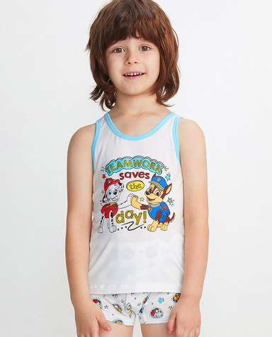 Aimer Kids睡衣|爱慕儿童天使背心MODAL印花汪汪队阿奇毛毛跨栏背心AK2111884