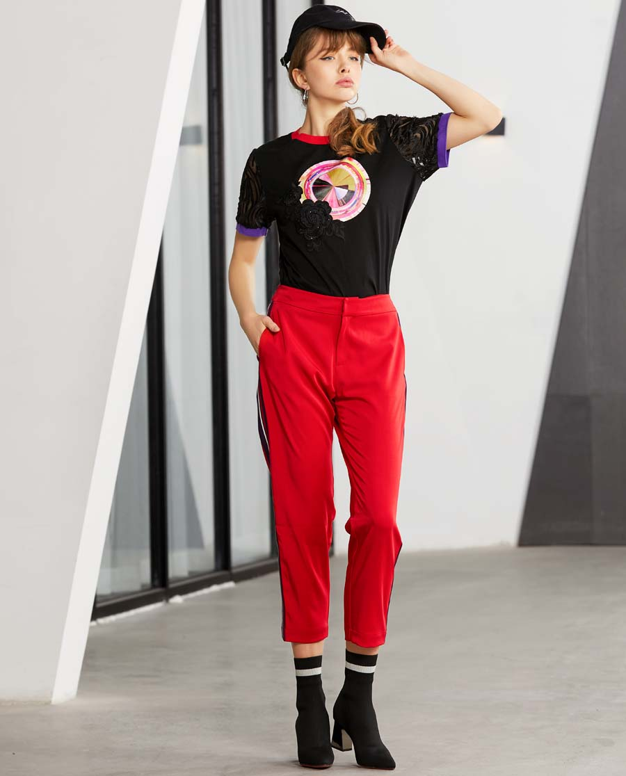 La Clover睡衣|LA CLOVER蕾絲外穿系列鑲邊褲子L