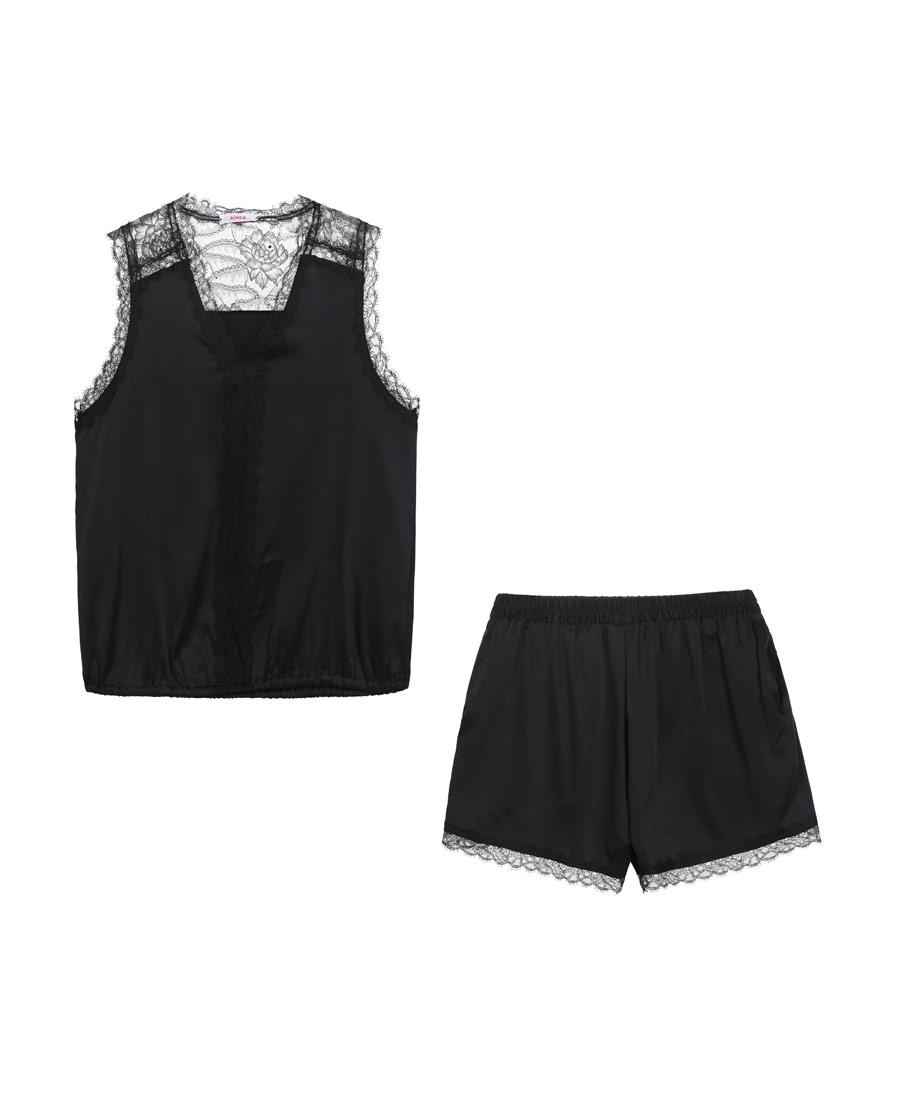 Aimer睡衣|爱慕扮美假期无袖上衣短裤分身家居套装AM462461