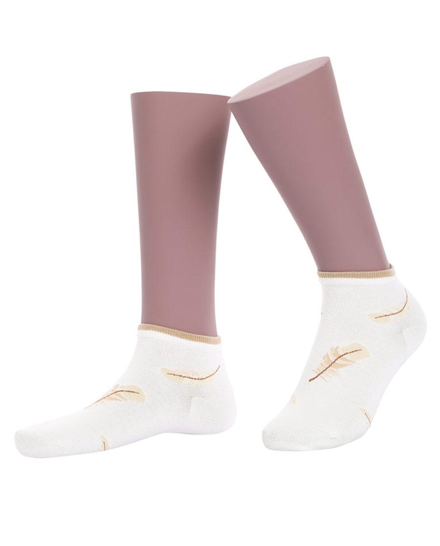 JOURVA襪子|足哇神秘花園女士羽毛提花低幫襪(2件包)