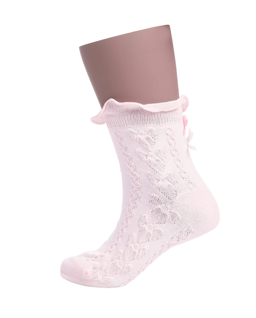 JOURVA袜子|足哇蝴蝶萝莉双蝴蝶结提花童袜JV3110