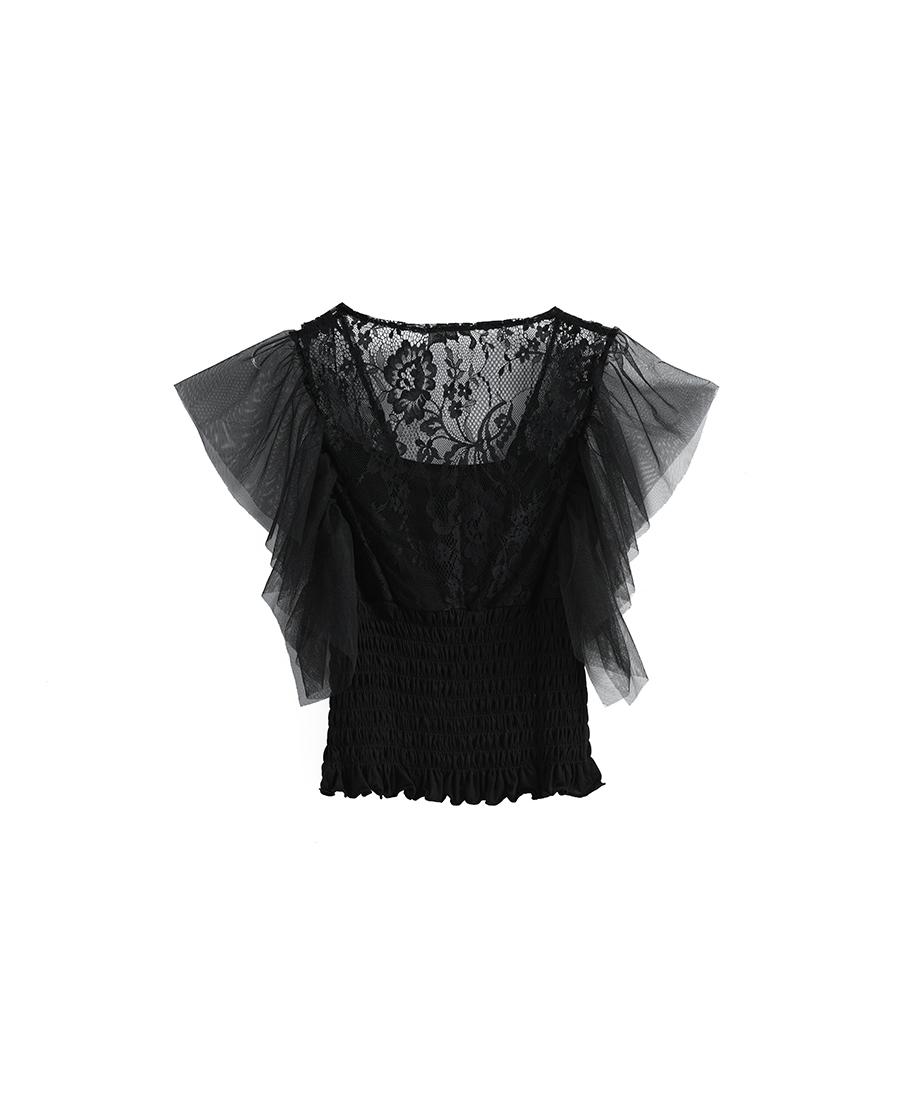 Shine Love睡衣|心爱雅致迷情蕾丝泡泡短袖上衣SL81U1