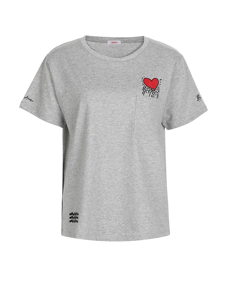 Aimer睡衣|爱慕Keith Haring短袖T恤AM