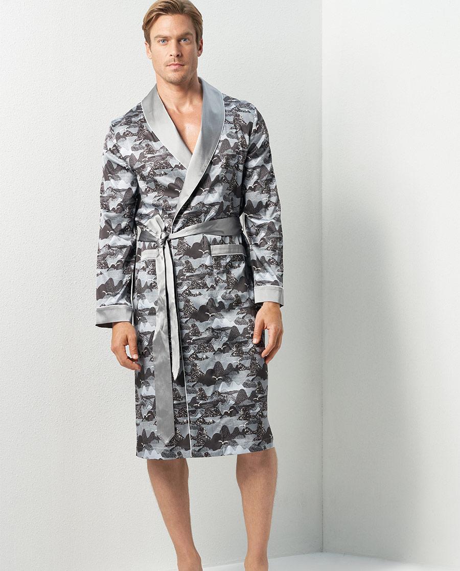 Aimer Men睡衣|亚洲城娱乐真丝家居长袍NS41C772