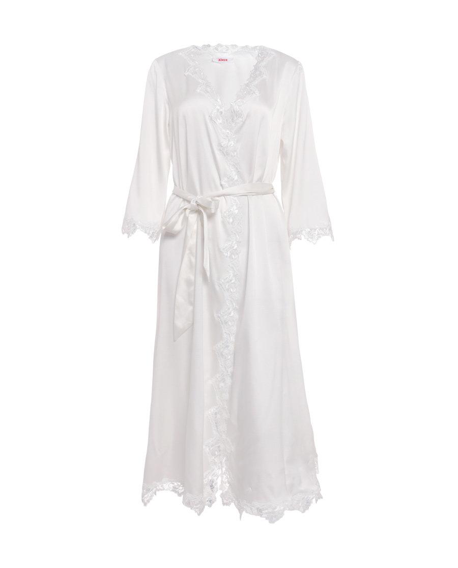 Aimer睡衣|ag真人平台悠闲假期长袖长款睡袍AM483081