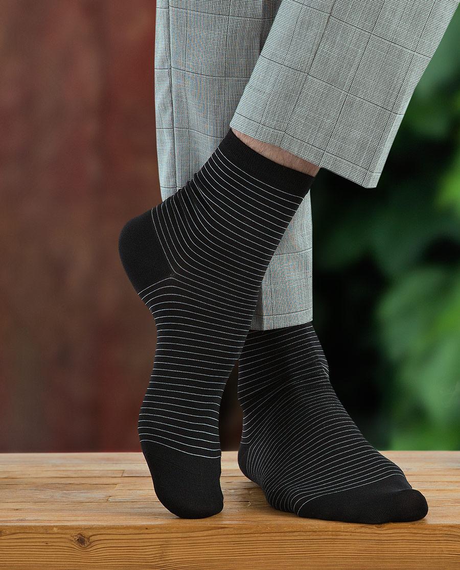 JOURVA袜子|足哇简意艾草系列条纹绅士男袜JV2110