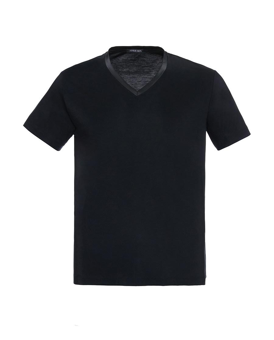 Aimer Men睡衣|ag真人平台先生新品纵享丝滑V领短袖上衣NS12A751
