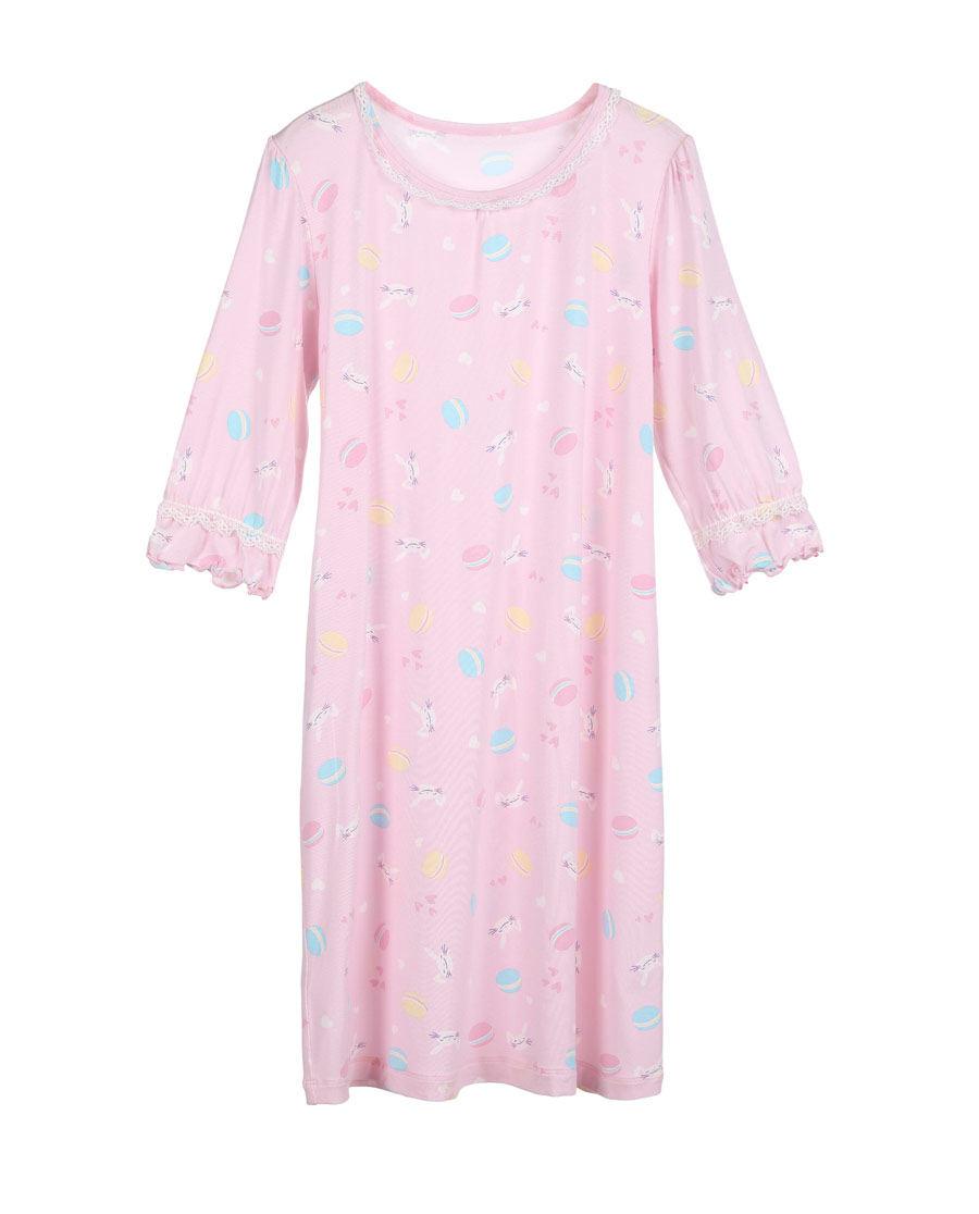 Aimer Kids睡衣|爱慕儿童甜心马卡龙女童七分袖中长睡裙AK1440921