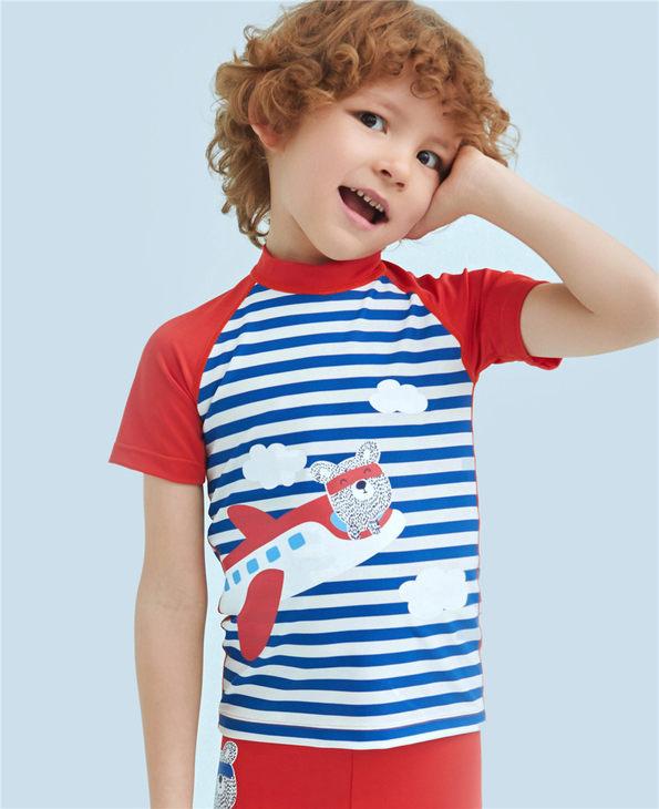 Aimer Kids泳衣|爱慕儿童条纹飞机短袖泳衣AK2671561