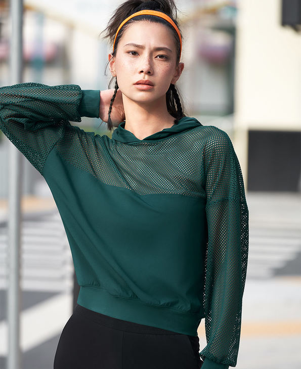 Aimer Sports睡衣|爱慕运动早秋风尚II休闲镂空套头帽衫AS144H21