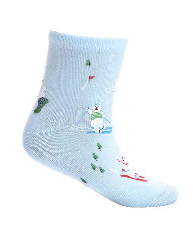 Aimer Kids袜子 爱慕儿童袜子滑雪熊印花童袜AK2942465
