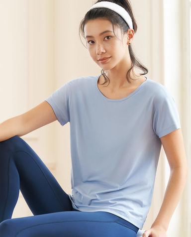Aimer Sports运动装 爱慕运动舒展瑜伽后背镂空短袖T恤AS143H12