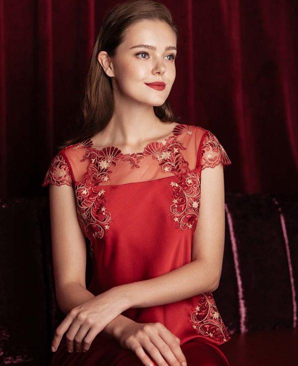 La Clover睡衣|LA CLOVER挚爱red系列小袖分身睡衣套装LC46GA1