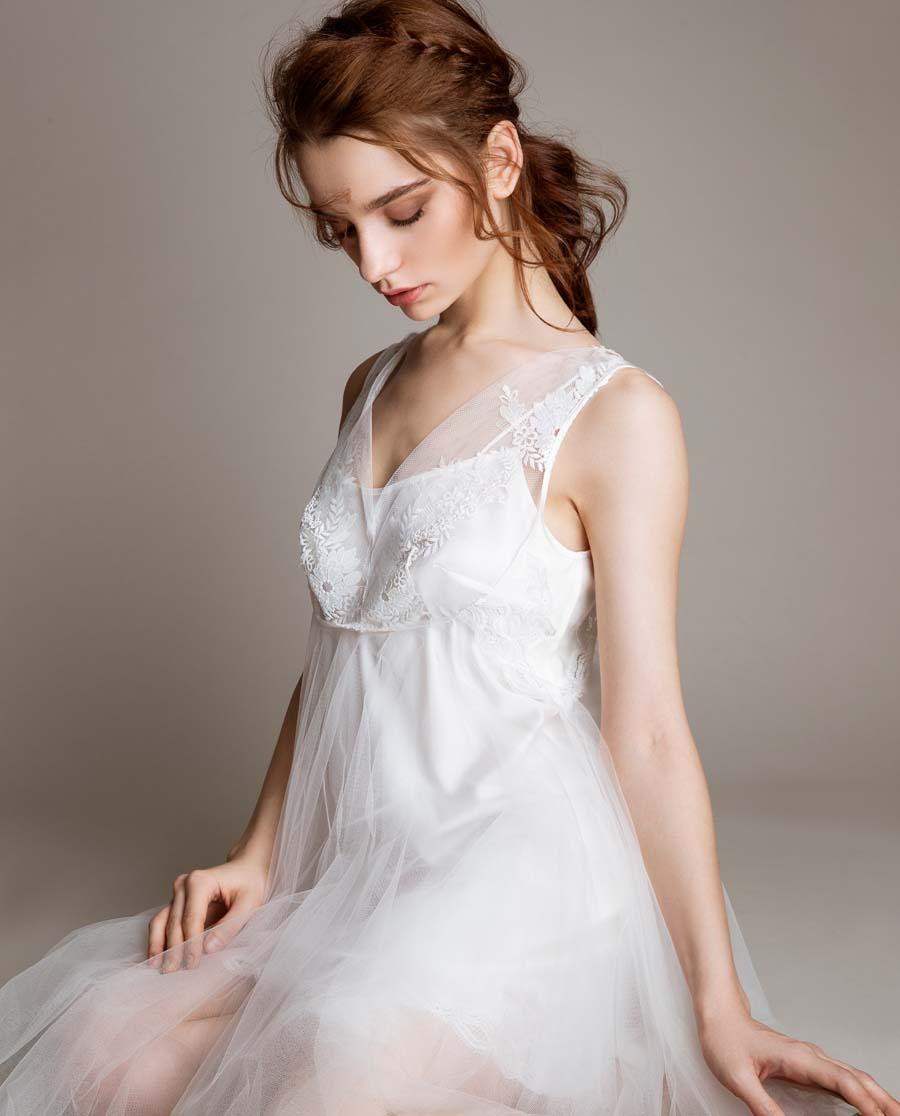 La Clover睡衣|LA CLOVER挚爱WHITE系列宽肩短款睡裙+小吊衣LC43HG1