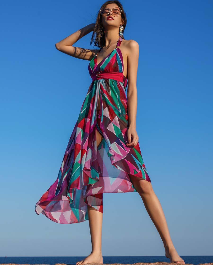 La Clover泳衣|LA CLOVER缤纷夏日系列沙滩长裙(明星同款)LC60HK1
