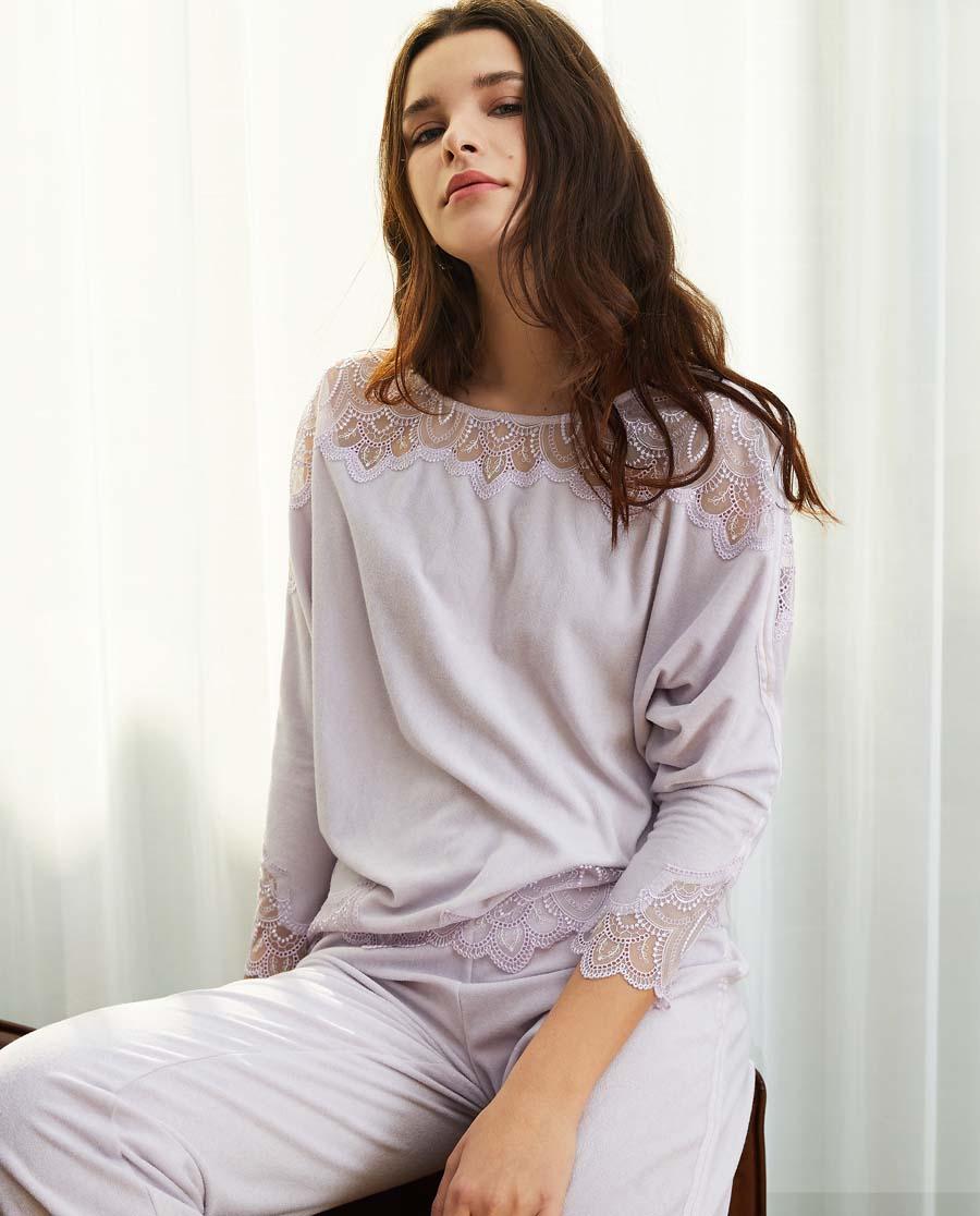 La Clover睡衣|LA CLOVER小夜曲系列圆领长袖上衣LC45JF1