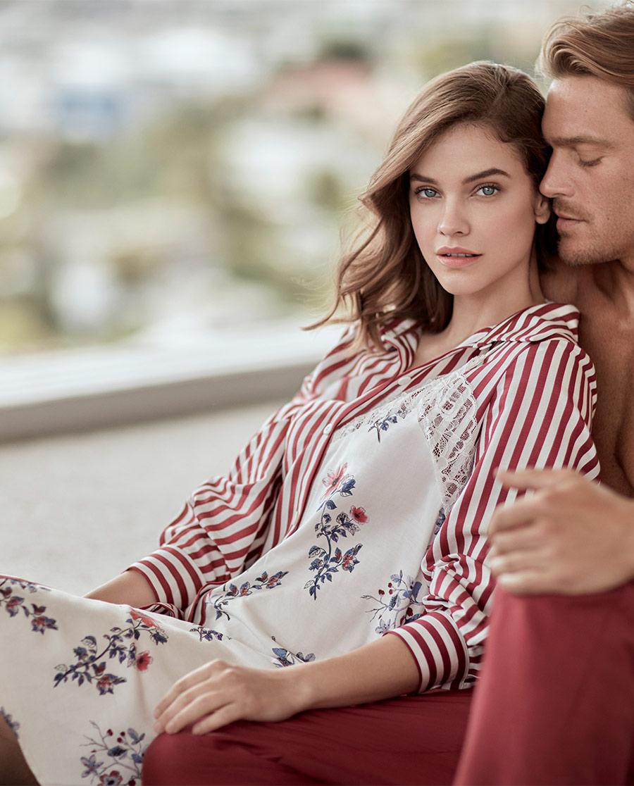 Aimer Home睡衣|爱慕家品彤漪蔷薇长袖衬衫裙AH44062
