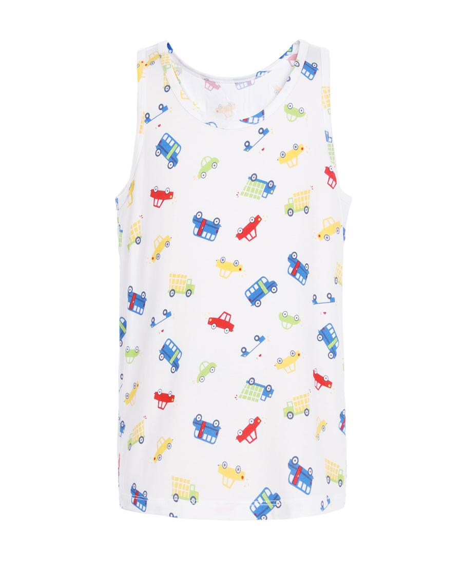 Aimer Kids睡衣|爱慕儿童天使背心modal印花欢乐汽车跨栏背心AK2111882