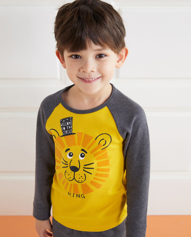 Aimer Kids保暖|爱慕儿童暖阳新意单层圆领插肩袖上衣AK2721763