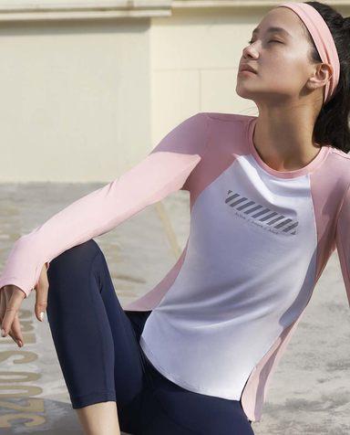 Aimer Sports运动装 爱慕运动美力领跑圆领跑步长袖T恤AS144H34